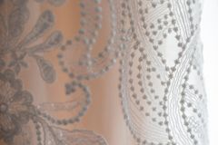 White lace detail of wedding dress stock photography
