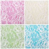 White lace on colorful backgrounds. White lace on different colorful backgrounds Royalty Free Stock Image