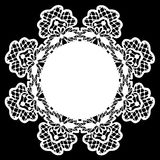 White lace doily. Card with white lace doily on black background vector illustration