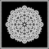 White lace doily. Realistic white lace doily in lacy frame isolated on black royalty free illustration