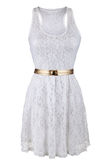 White lace dress with golden belt Royalty Free Stock Photo