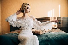 White lace dress royalty free stock photos