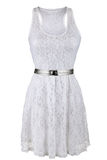 White lace dress with silver belt Royalty Free Stock Photography