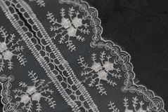 White Lace Embroidered Border on Dark Surface. Lace Texture Background on Dark Gray Board. White Lace Embroidered Border on Dark Surface. Lace Texture royalty free stock photos