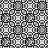 White lace floral seamless pattern on black Stock Photos
