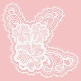 White lace flower for decoration of cards and invitations. Royalty Free Stock Photography