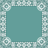 White lace frame with flowers and lacy elements background Royalty Free Stock Photo