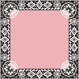 White lace frame with flowers and lacy elements pink background Stock Image