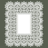 White Lace Frame. Green Background Royalty Free Stock Photos