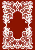White lace frame. White lace lace frame on a maroon background Stock Images