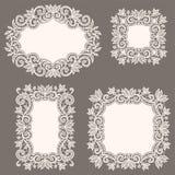 White Lace Frames. Set. Royalty Free Stock Photos