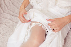 White lace garter Royalty Free Stock Photo