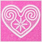 White lace heart on pink ornate background, Valentines Day greeting card cover Royalty Free Stock Image