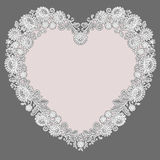 White Lace. Heart Shape Frame. Pink Background. Stock Images