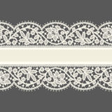 White Lace. Horizontal Ribbon. Greeting Card. Royalty Free Stock Images