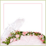 White Lace Parasol and Garland of Pink rose Stock Photo