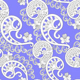 White lace pattern on lilac background Royalty Free Stock Image