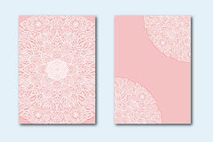 White lace pattern on a pink background. Set of two templates for wedding invitations. Greeting card with a newborn. Stock Images