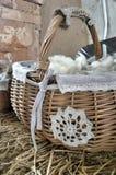 White lace picnic basket Royalty Free Stock Photography