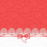 White lace on red background Royalty Free Stock Photo