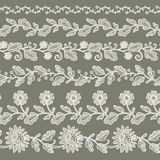 White Lace Ribbon. Set. Green Background Stock Photos