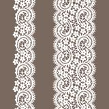 White Lace. Lace ribbon. Vertical seamless pattern Royalty Free Stock Image