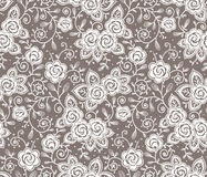 White lace. Roses lace seamless pattern. Beige backgrounds Royalty Free Stock Photography