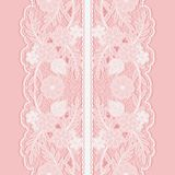 White lace seamless pattern of broad vertical floral tape. Stock Image
