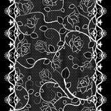 White lace seamless pattern with roses on black background Stock Photos