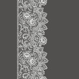 White Lace Seamless Pattern. White Lace. Vertical Seamless Pattern. Gray Background Stock Photo