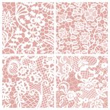 Set of lacy patterns. White lace seamless patterns with flowers on beige background Stock Images