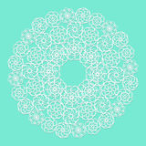 White lace serviette on blue background Stock Images