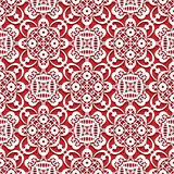 White lace texture on red, seamless lace pattern Stock Photography