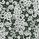 White Lace Vector Seamless Pattern. Floral Pattern. White Lace Vector Seamless Pattern. Floral Romantic Pattern. Dark Background stock illustration