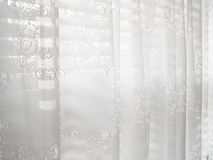 White Lace Window Blinds Abstract Pattern Stock Image