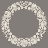 White Lace. Wreath. Floral Pattern. Gray Background Royalty Free Stock Photo