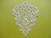 White lace on yellow Stock Photo