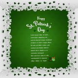 White laced frame with lettering on green background for St.Patrick`s day,paper cut out style Royalty Free Stock Photography
