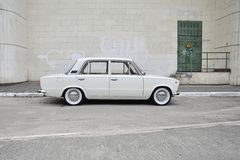White Lada. White classic Lada, great example of soviet automotive industry Royalty Free Stock Photo
