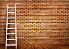 White ladder against and old a red brick wall vector illustration