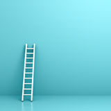 White ladder on light blue wall background with reflection and shadow Royalty Free Stock Photos