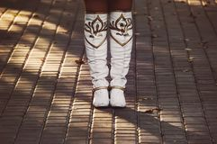 White ladies boots are stock images
