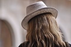 White ladies hat. An image of a ladies white hat Royalty Free Stock Photo