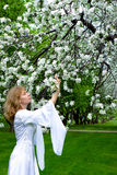White lady and white flowers stock photos