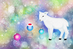 White lamb and colorful bokeh Royalty Free Stock Photos