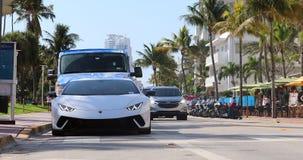 White Lamborghini Huracan Performante In Miami Beach. Miami, Florida / USA, February 24, 2019: Luxury White Lamborghini Huracan Performante Front View Parked In stock video