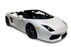 White Lamborghini Roadster with clipping path Stock Image