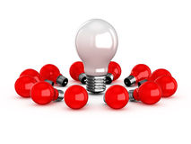 White Lamp Among Red Ones Stock Photos