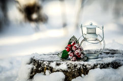 The white lamp and a sprig with berries and green leaves on a snow-covered tree stump. Royalty Free Stock Images