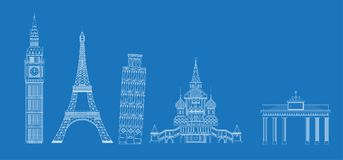 White landmarks sketch on blue vector illustration